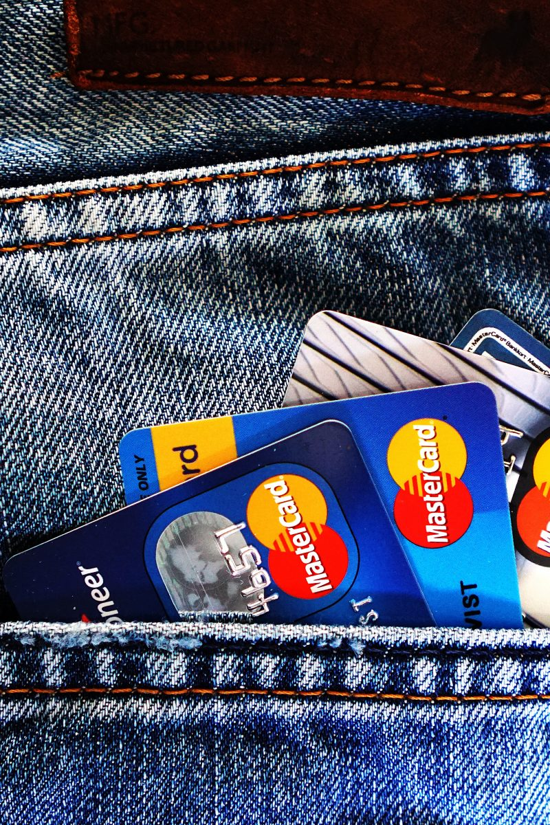 four credit cards in pocket