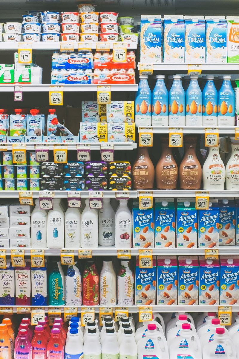 dairy aisle in grocery store