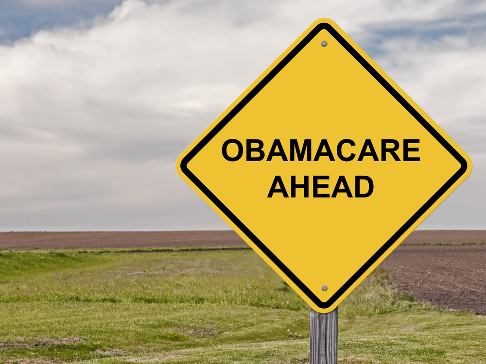 """Obamacare ahead"" sign"