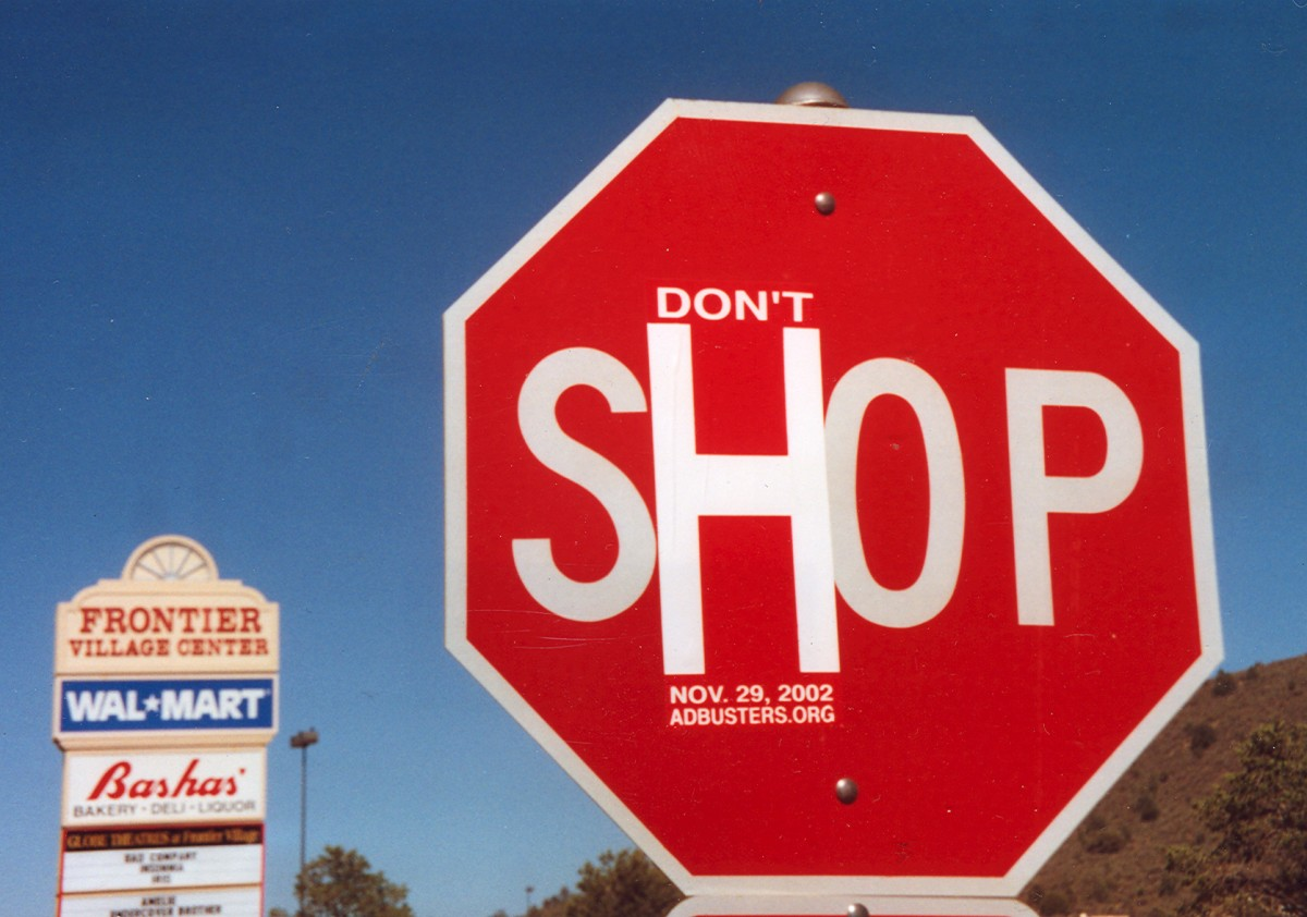 Stop sign changed to 'don't shop' sign
