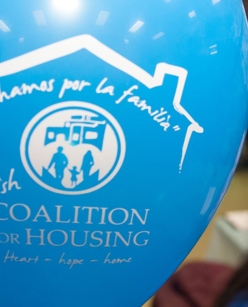 """Spanish Coalition for Housing"" balloon"
