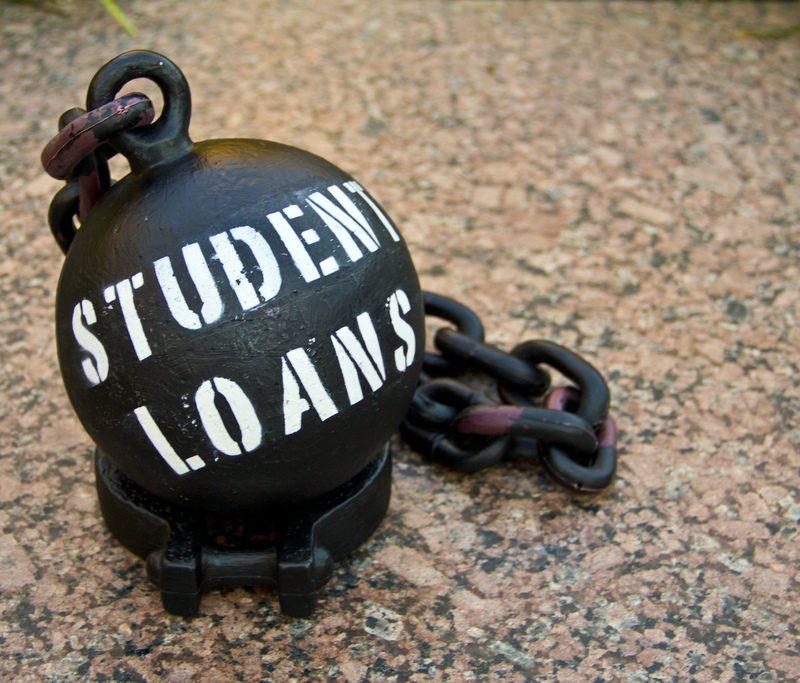 "ball and chain read ""Student loans"""