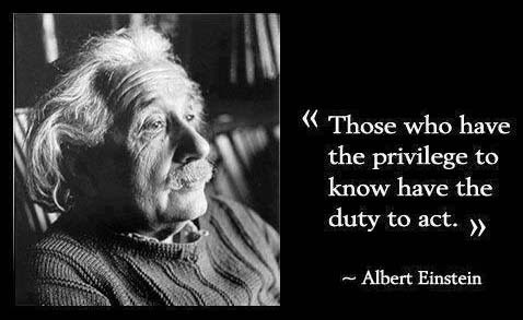 """Those who have the privilege to know have the duty to act. -Einstein"""