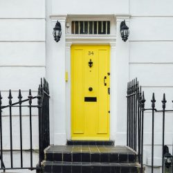 yellow-doored house